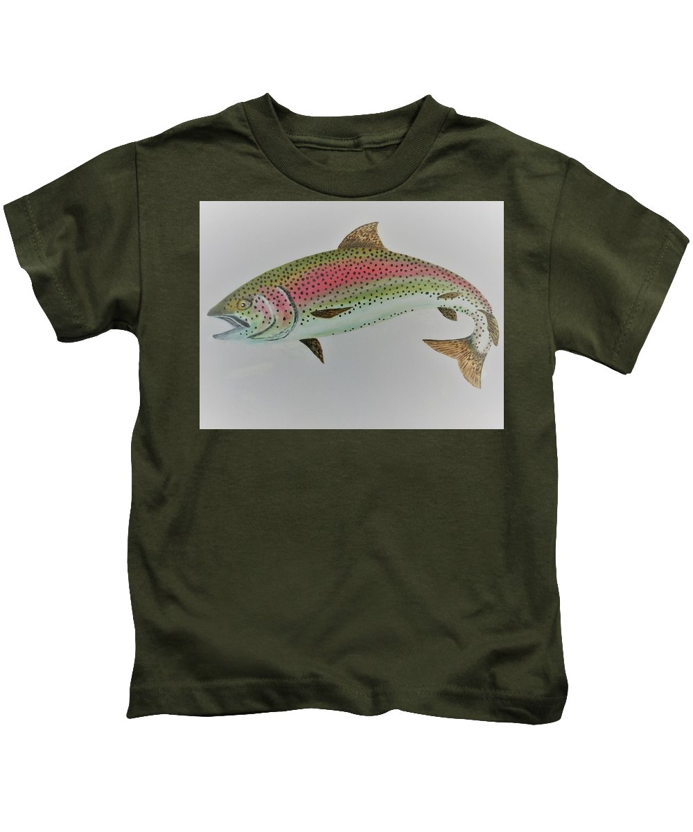 Fish Kids T-Shirt featuring the mixed media Rainbow Trout by Nigel Wakefield