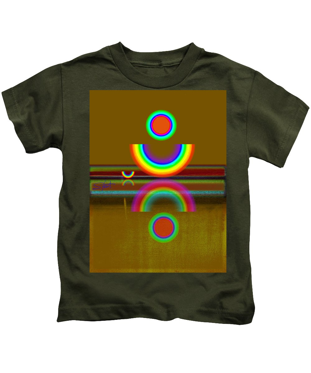 Reflections Kids T-Shirt featuring the painting Rainbow Warrior by Charles Stuart