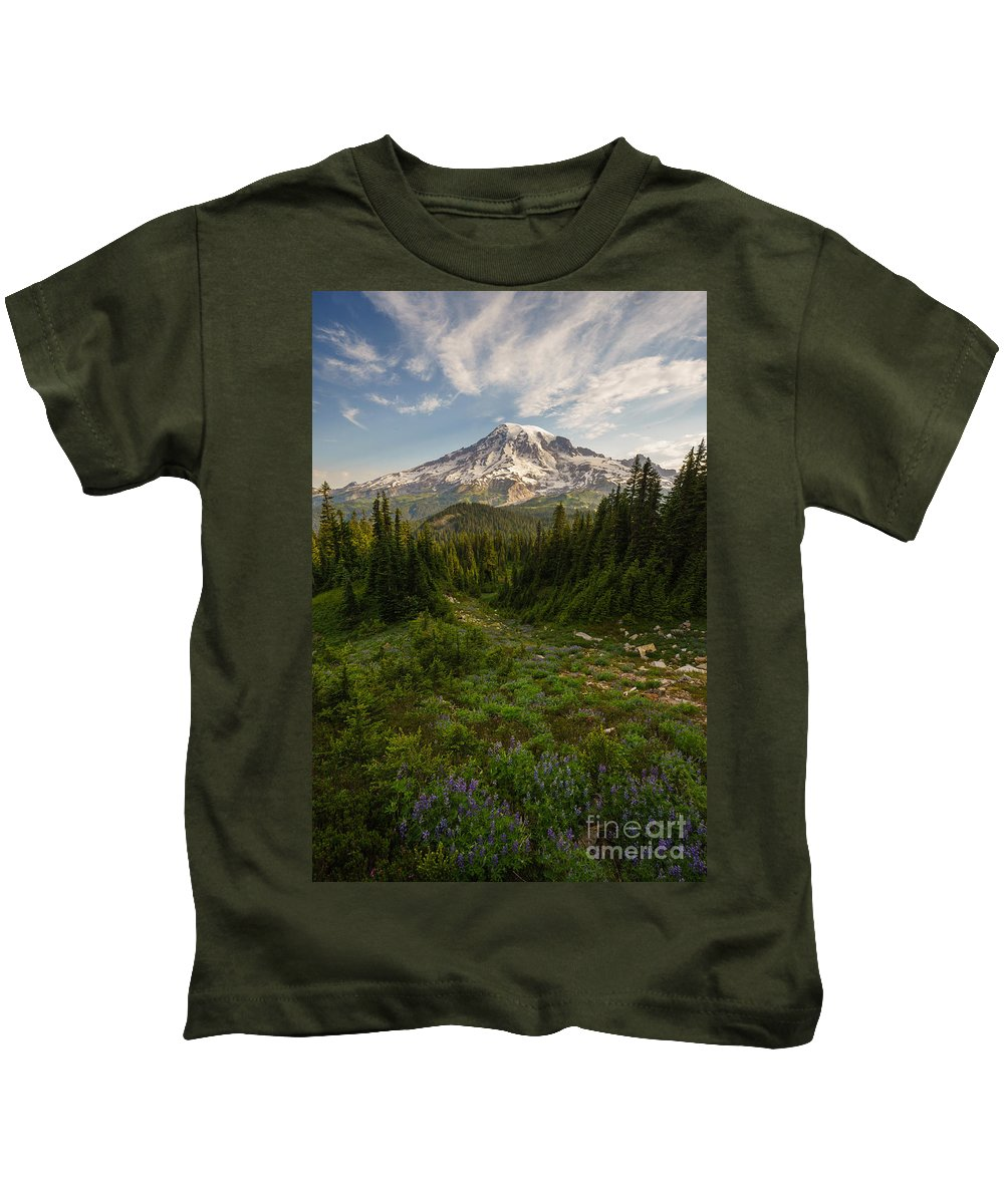 Rainier Kids T-Shirt featuring the photograph Rainier And Majestic Meadows Of Wildflowers by Mike Reid