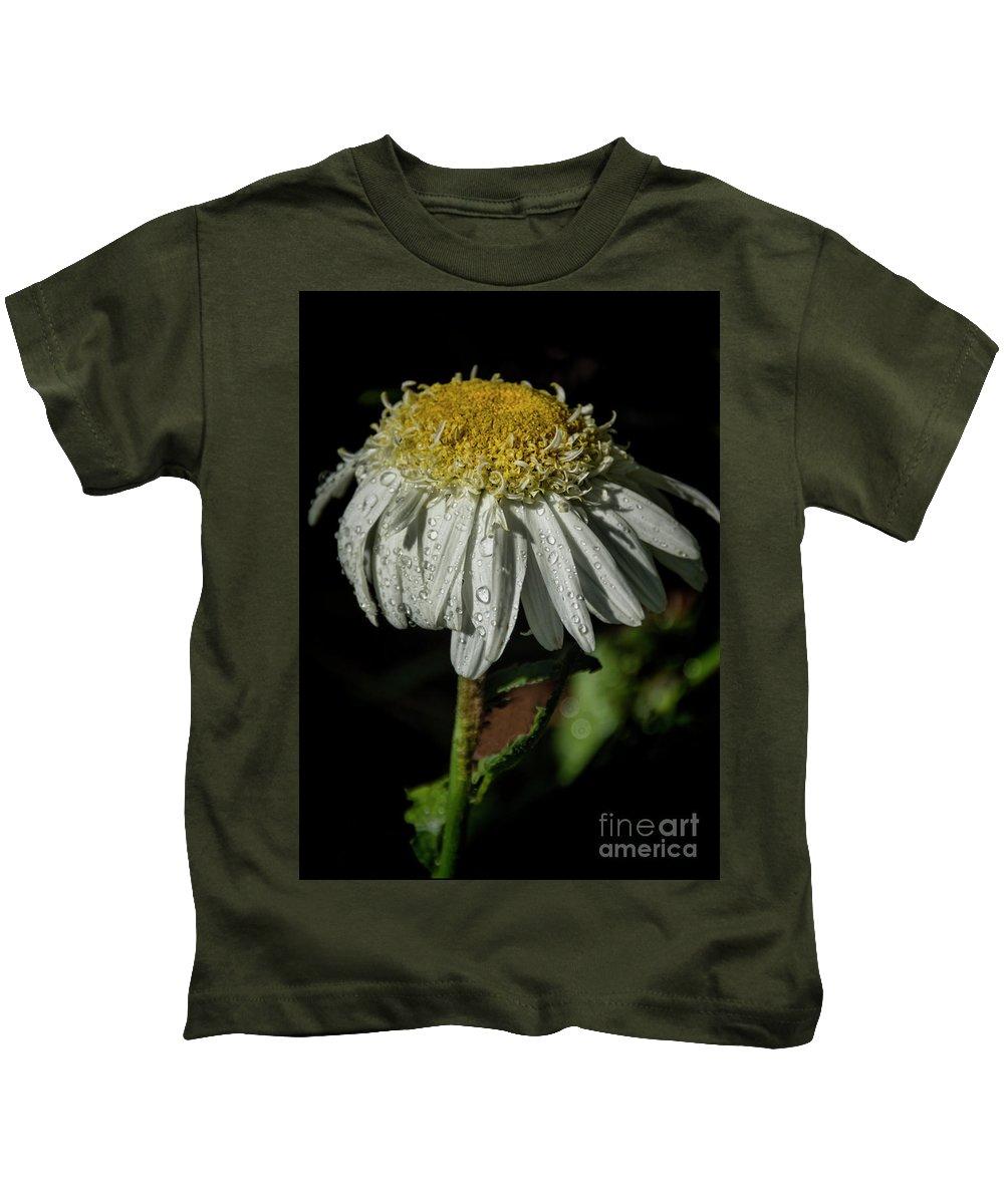 Rain Kids T-Shirt featuring the photograph Rainy Daisy by Janice Pariza