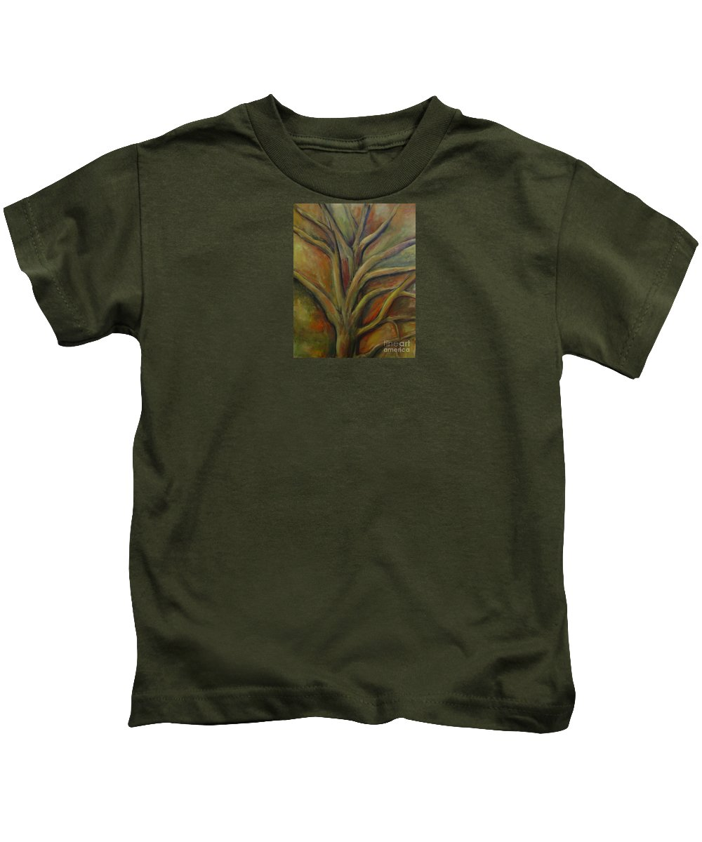 Tree Abstract Painting Expressionist Original Leila Atkinson Kids T-Shirt featuring the painting Rapt by Leila Atkinson