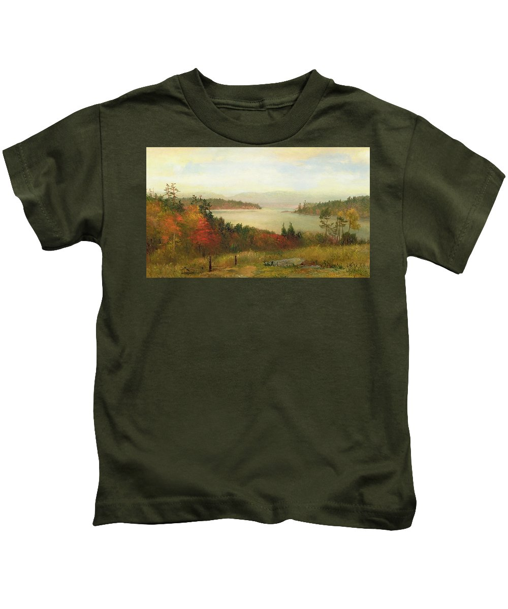 Raquette Lake Kids T-Shirt featuring the painting Raquette Lake by Homer Dodge Martin
