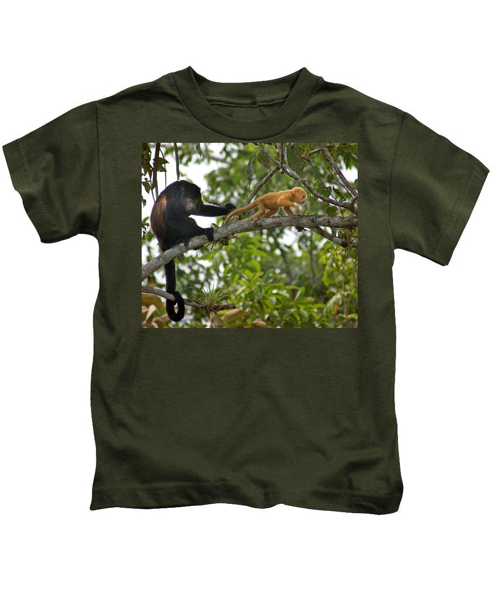 Monkey Kids T-Shirt featuring the photograph Rare Golden Monkey by Heather Coen