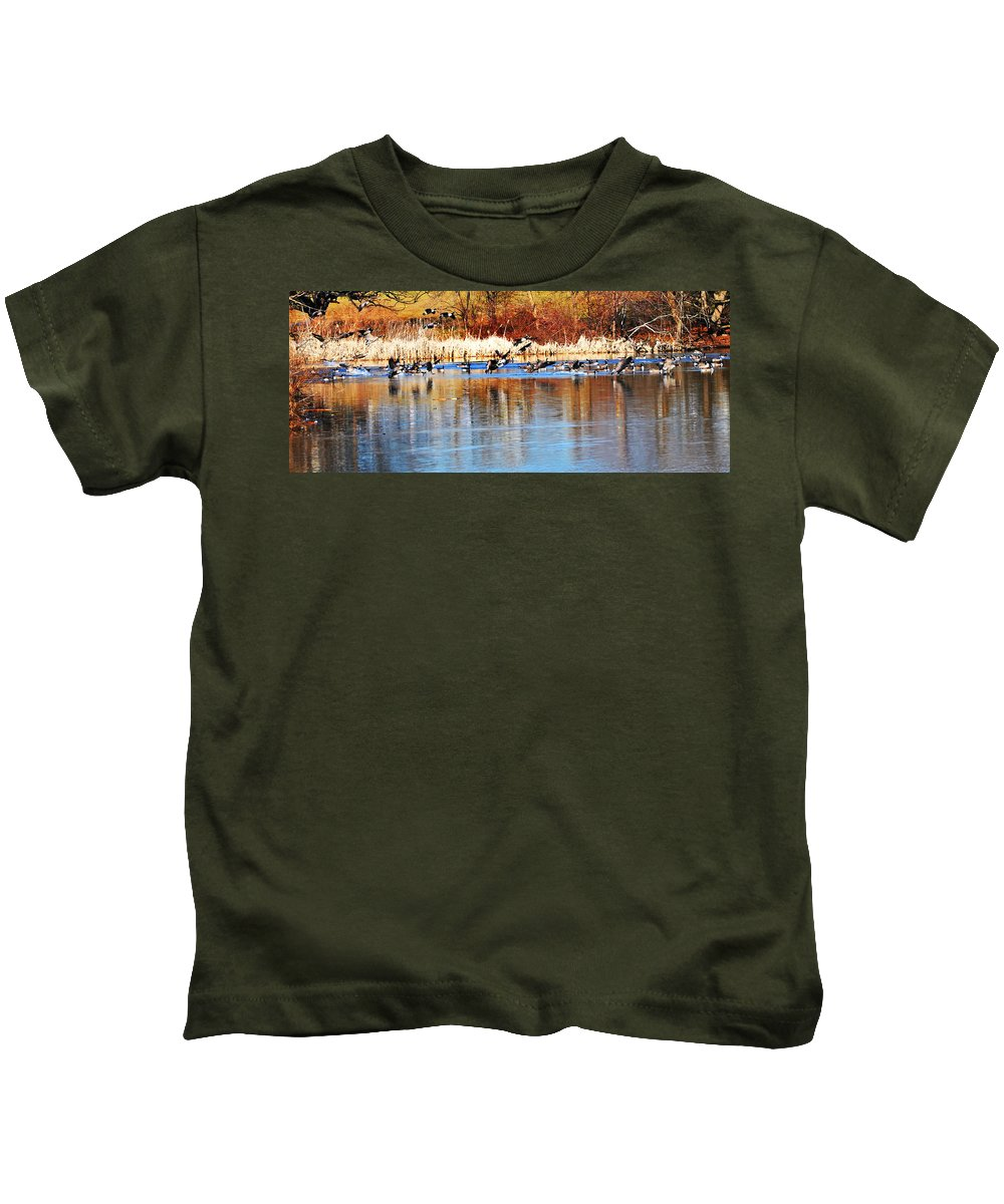 Birds Kids T-Shirt featuring the photograph Ready Get Set Go by Bill Cannon