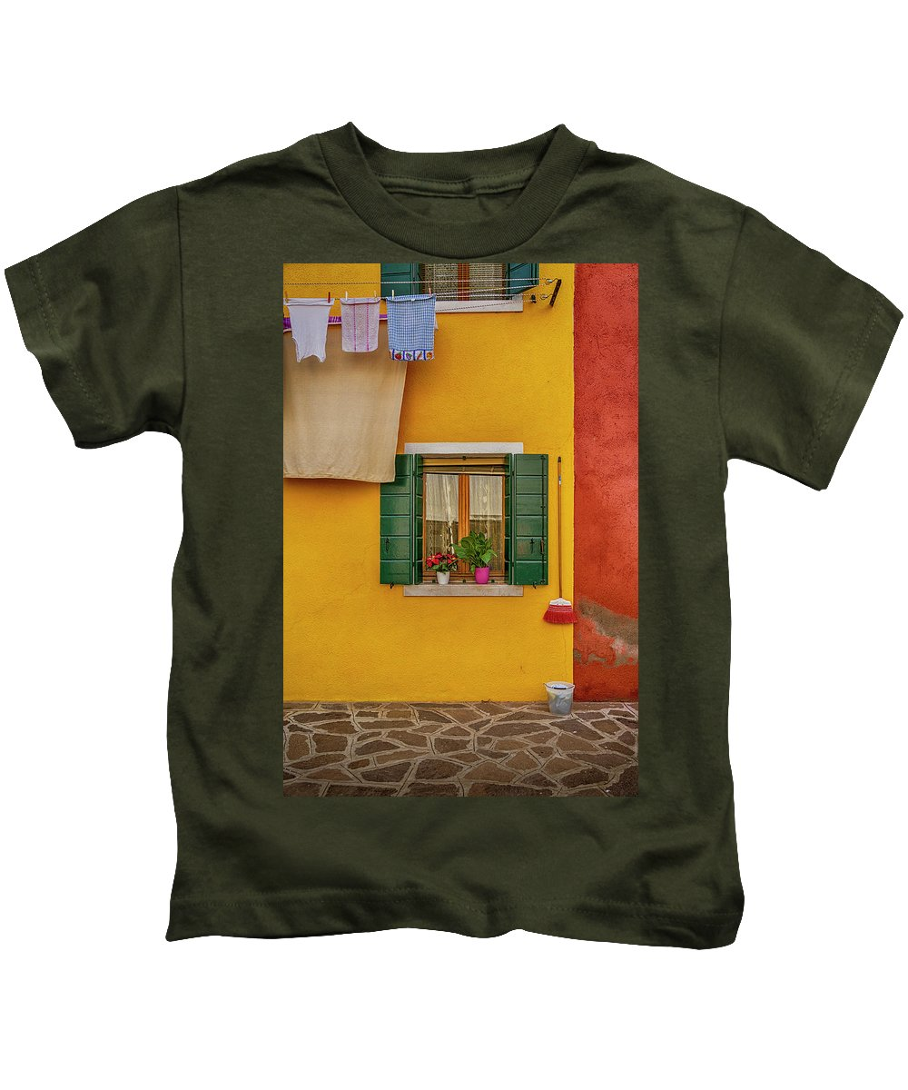 Burano Kids T-Shirt featuring the photograph Rectangle Iterations Broom And Laundry Burano_dsc5134_03042017 by Greg Kluempers