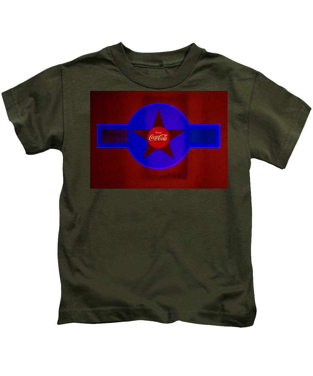 Label Kids T-Shirt featuring the painting Red And Blue by Charles Stuart