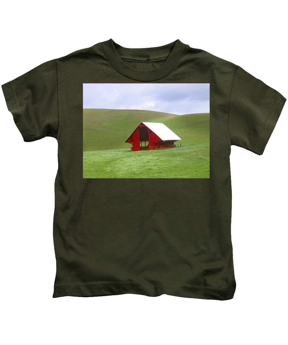 Landscape Kids T-Shirt featuring the photograph Red Barn In Spring by Karen W Meyer