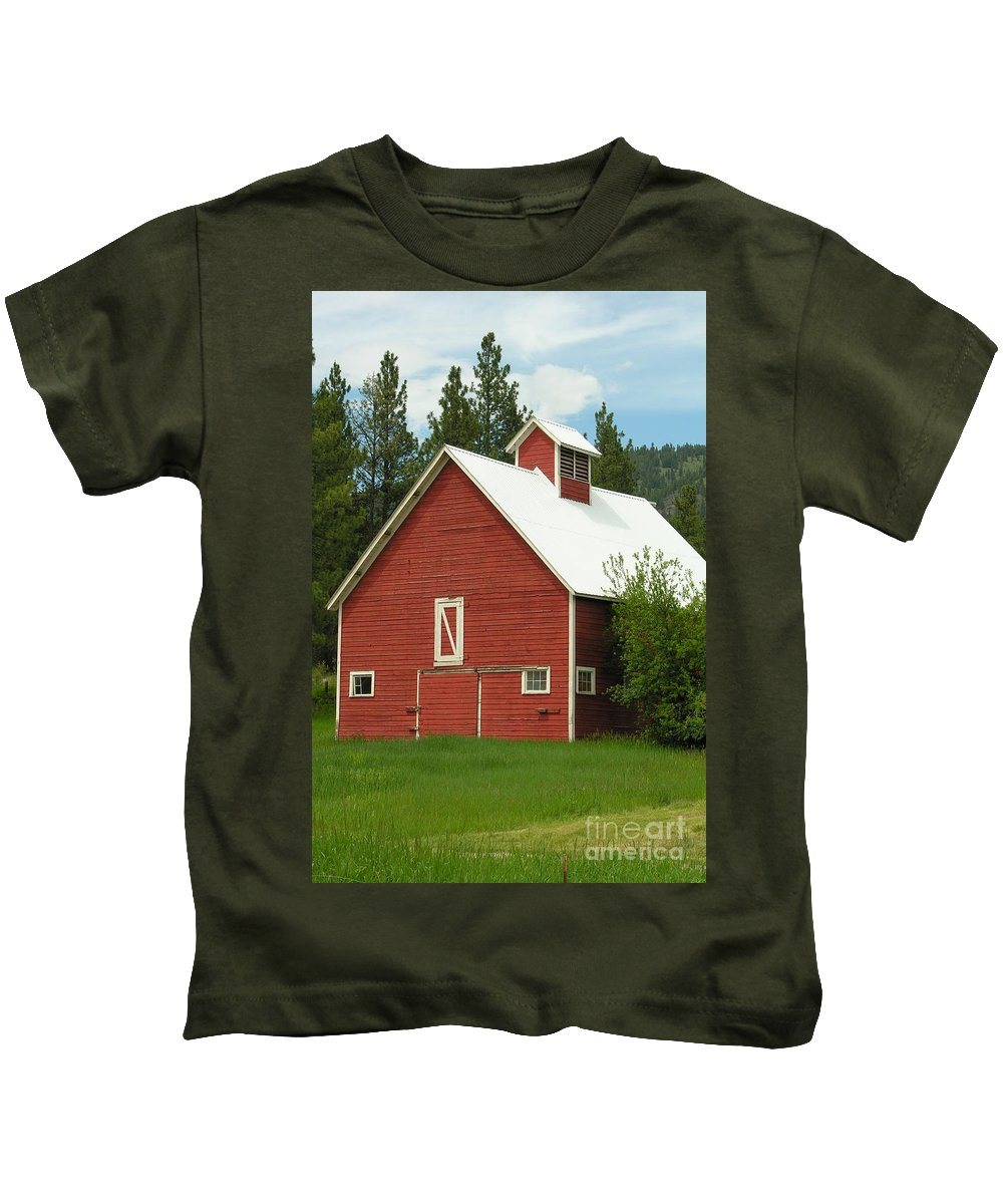 Red White Kids T-Shirt featuring the photograph Red Barn Montana by Diane Greco-Lesser