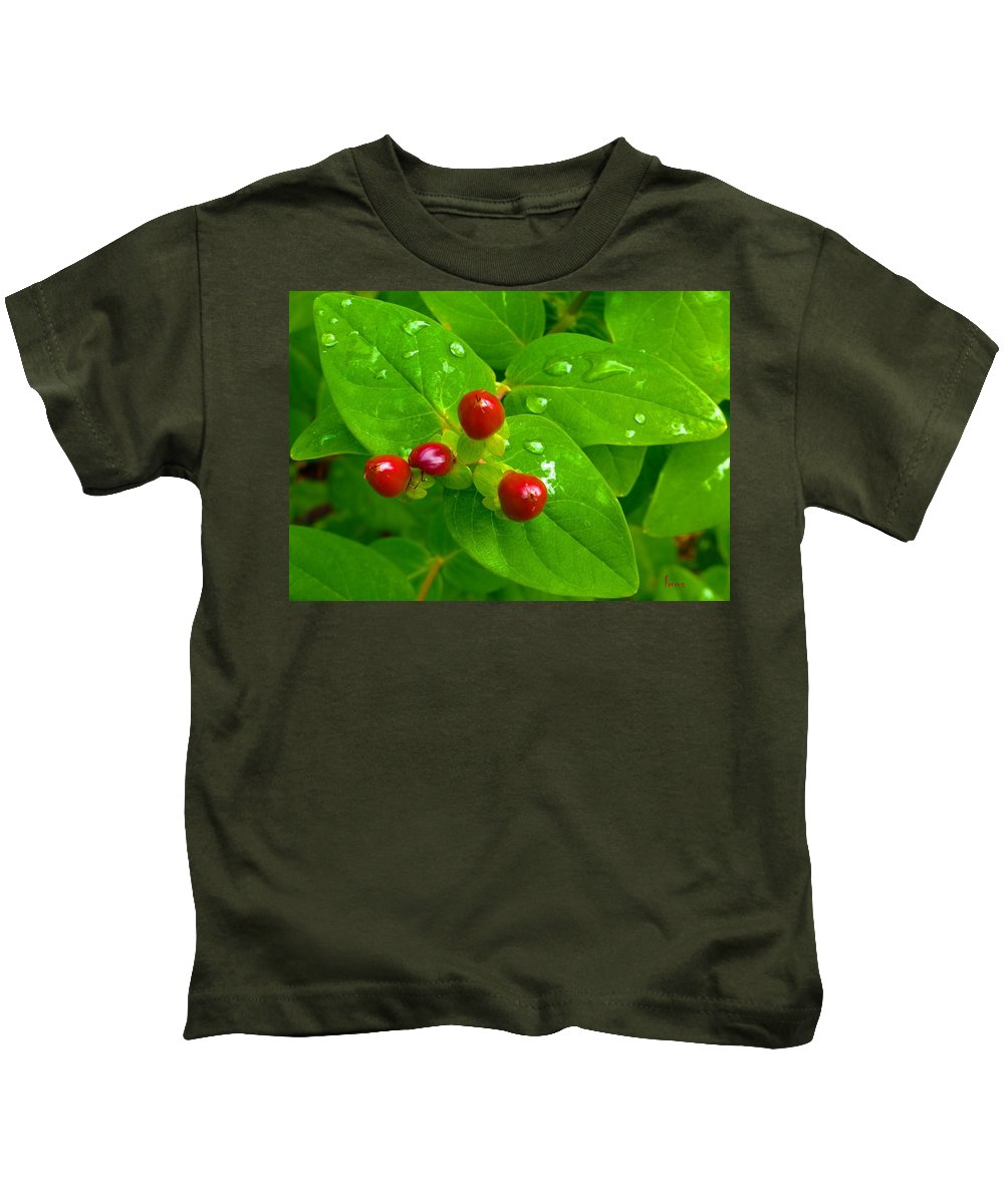 Berries Kids T-Shirt featuring the photograph Red Berries by Barbara Zahno