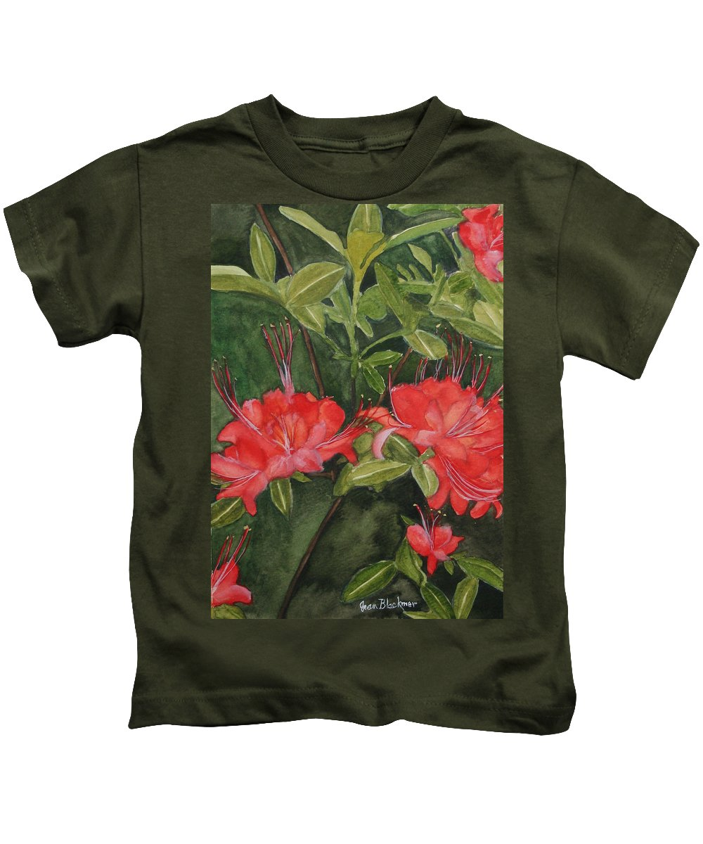 Flowers Kids T-Shirt featuring the painting Red Blooms On The Parkway by Jean Blackmer