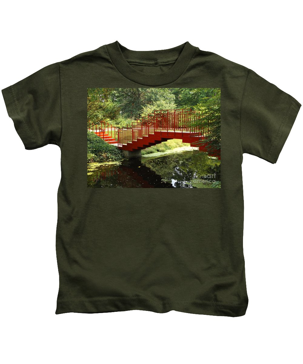 Bridge Kids T-Shirt featuring the photograph Red Bridge by Erick Schmidt