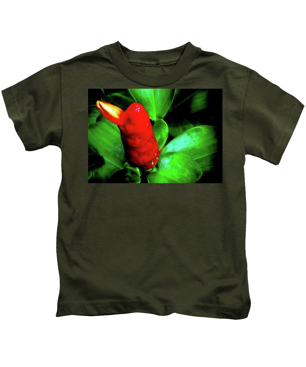 Plant Kids T-Shirt featuring the photograph Red Button Ginger by Joseph Hollingsworth