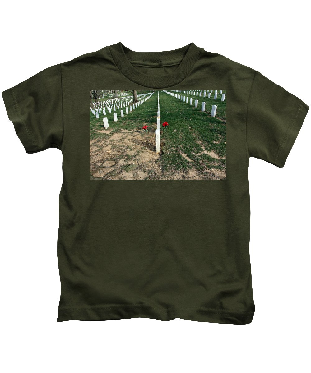 Arlington Kids T-Shirt featuring the photograph Red Flowers In Arlington by Cora Wandel
