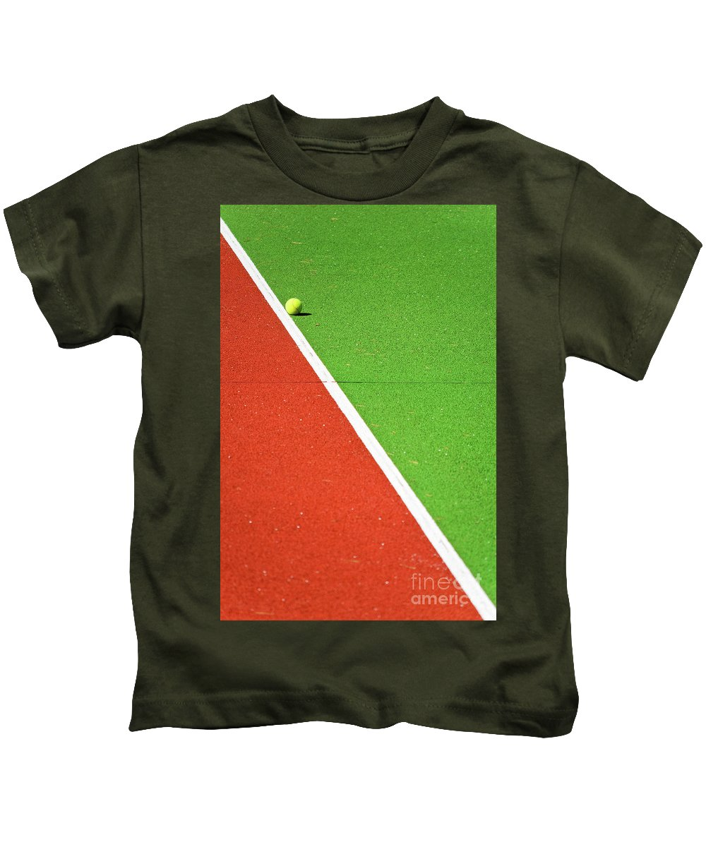 Tennis Kids T-Shirt featuring the photograph Red Green White Line And Tennis Ball by Silvia Ganora