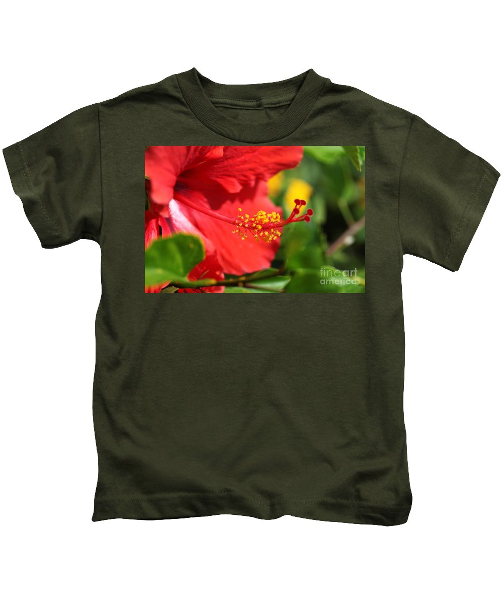 Flowers Kids T-Shirt featuring the photograph Red Hibiscus And Green by Nadine Rippelmeyer