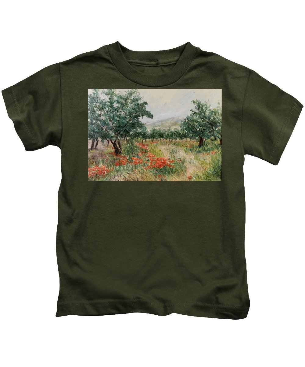 Olive Trees Kids T-Shirt featuring the painting Red Poppies In The Olive Garden by Gonul Engin YILMAZ