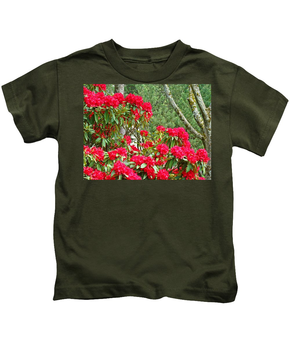 Rhodies Kids T-Shirt featuring the photograph Red Rhododendron Garden Art Prints Rhodies Landscape Baslee Troutman by Baslee Troutman