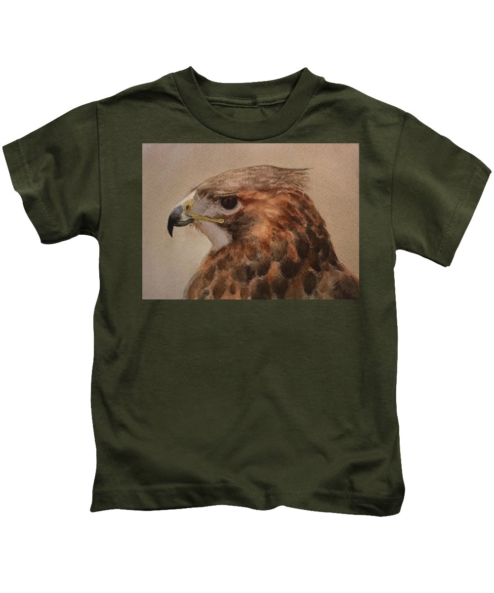 Hawk Kids T-Shirt featuring the painting Red-shouldered Hawk by June Rollins