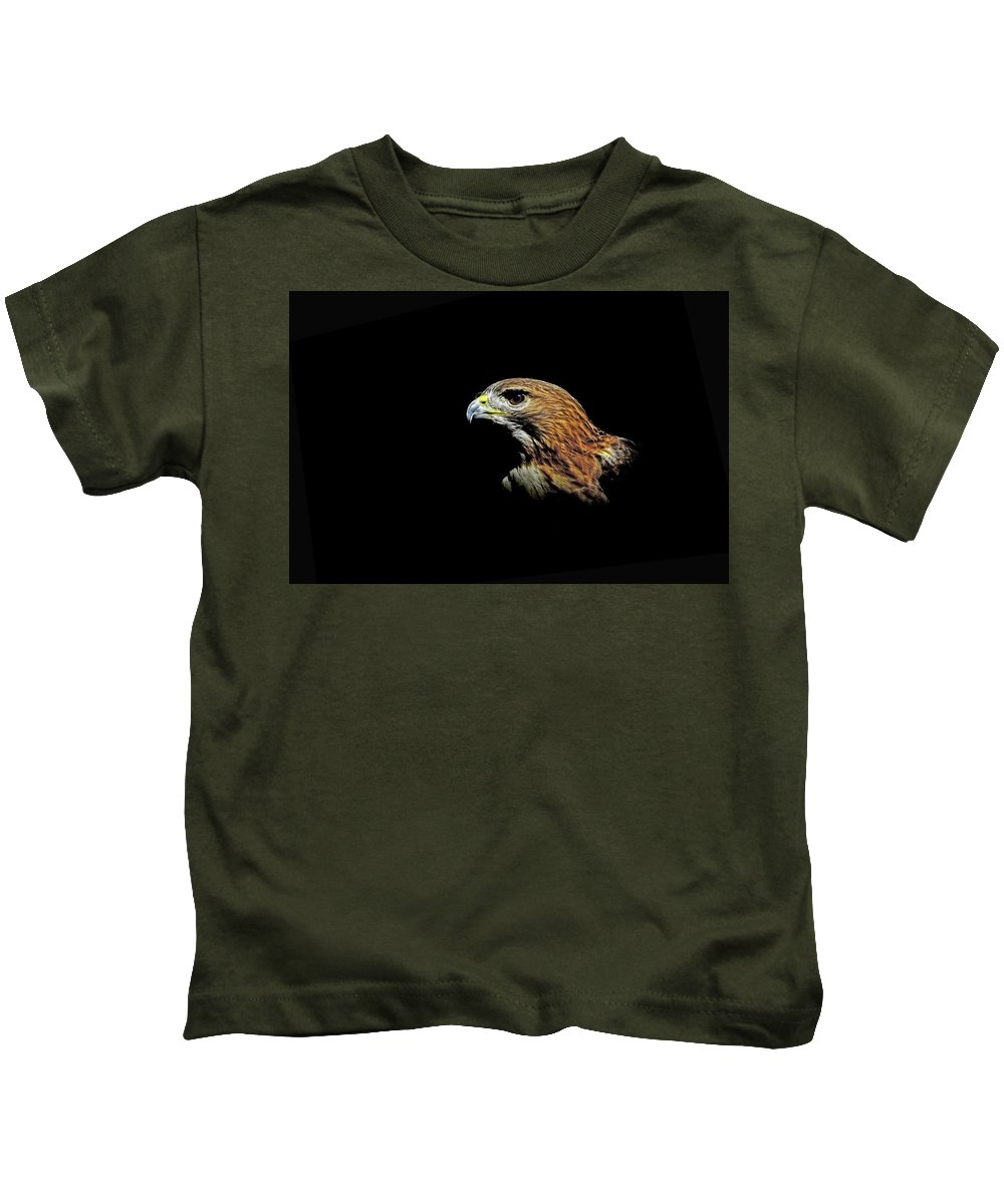 Hawks Kids T-Shirt featuring the photograph Red Tail Hawk by Stuart Harrison