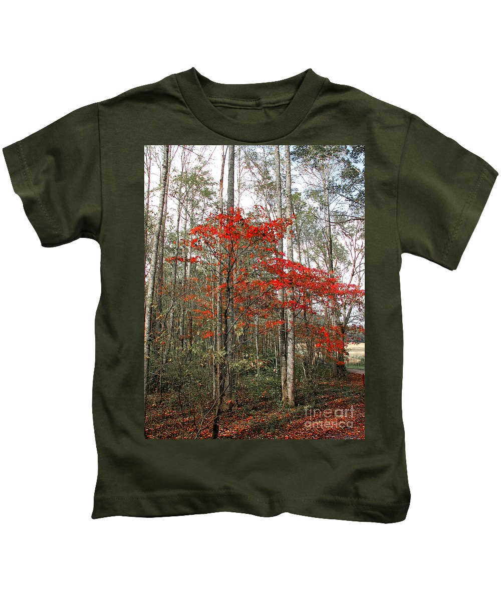 Landscape Kids T-Shirt featuring the photograph Red Tree by Todd Blanchard