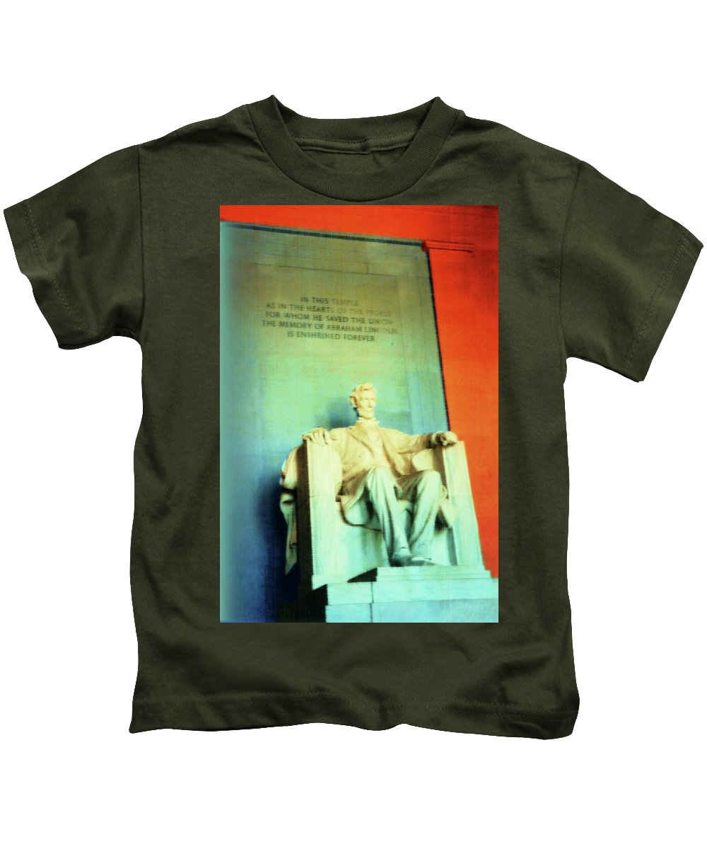 Abraham Lincoln Kids T-Shirt featuring the photograph Red White Blue Lincoln by Desiree Paquette