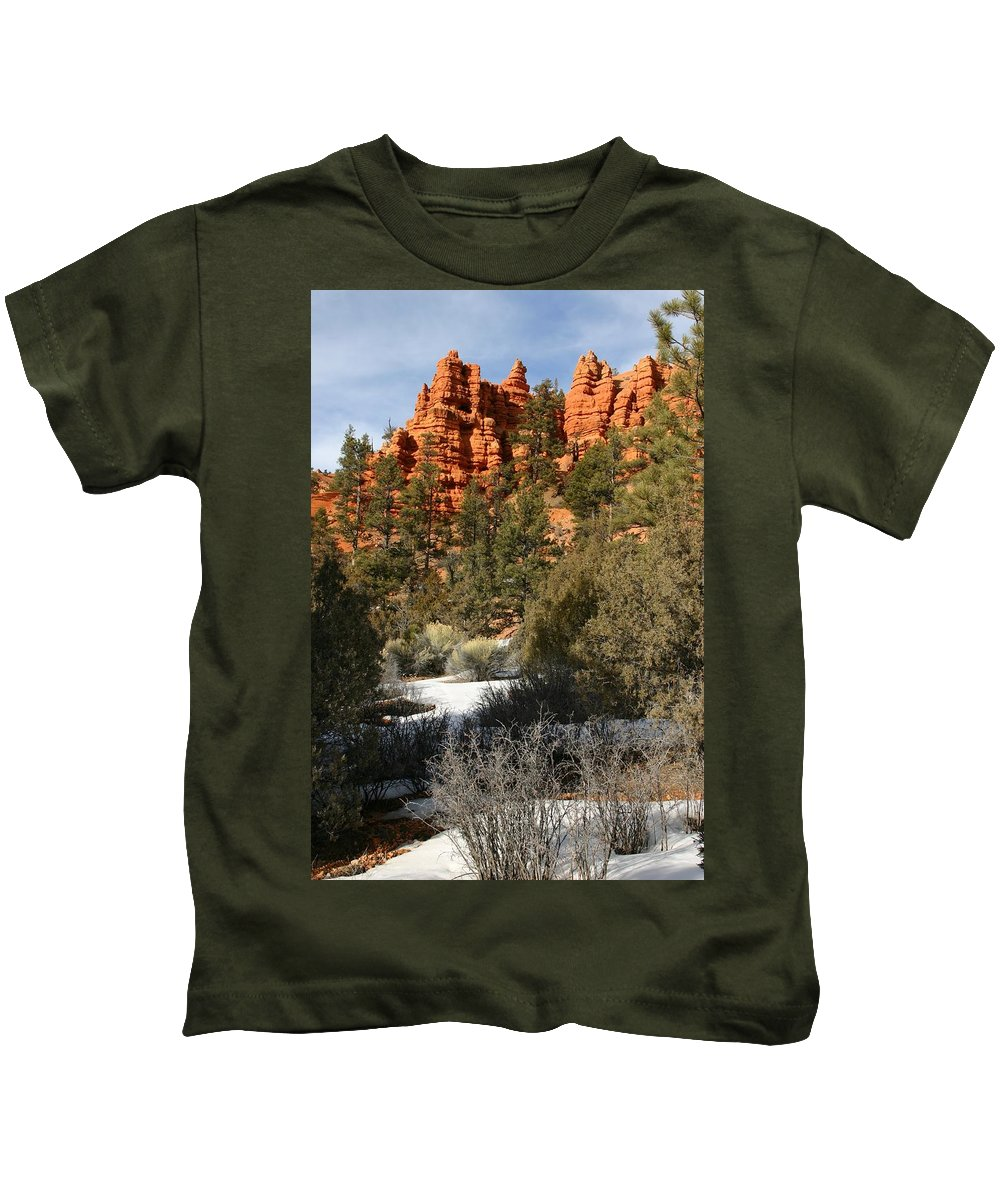 Red Rocks Kids T-Shirt featuring the photograph Redrock Winter by Nelson Strong