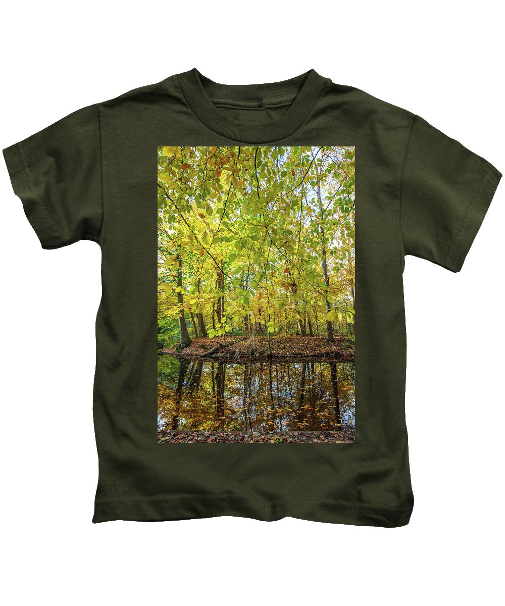 City Kids T-Shirt featuring the photograph Reflected Color Of Autumn by Andrew Balcombe