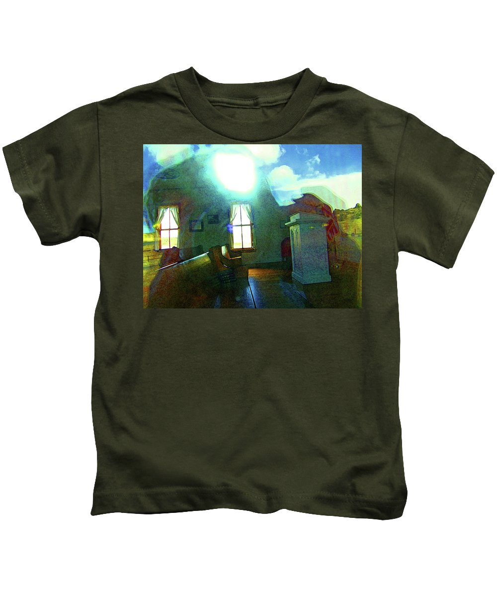 Abstract Kids T-Shirt featuring the photograph Reflecting On The Spirit Of Things by Lenore Senior