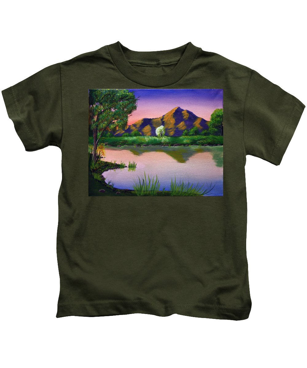 Landscape Kids T-Shirt featuring the painting Reflections In The Breeze by Dawn Blair