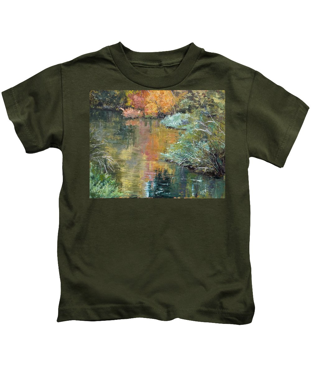 Landscape Kids T-Shirt featuring the painting Reflections by Kit Hevron Mahoney