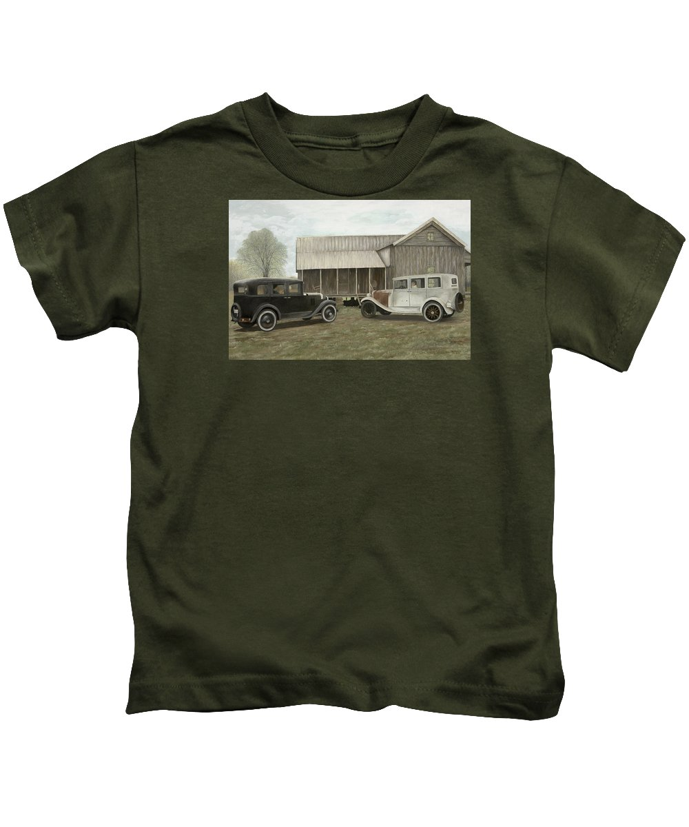 Old Cars Paintings Kids T-Shirt featuring the painting Reflections Of The Past by Mary Ann King