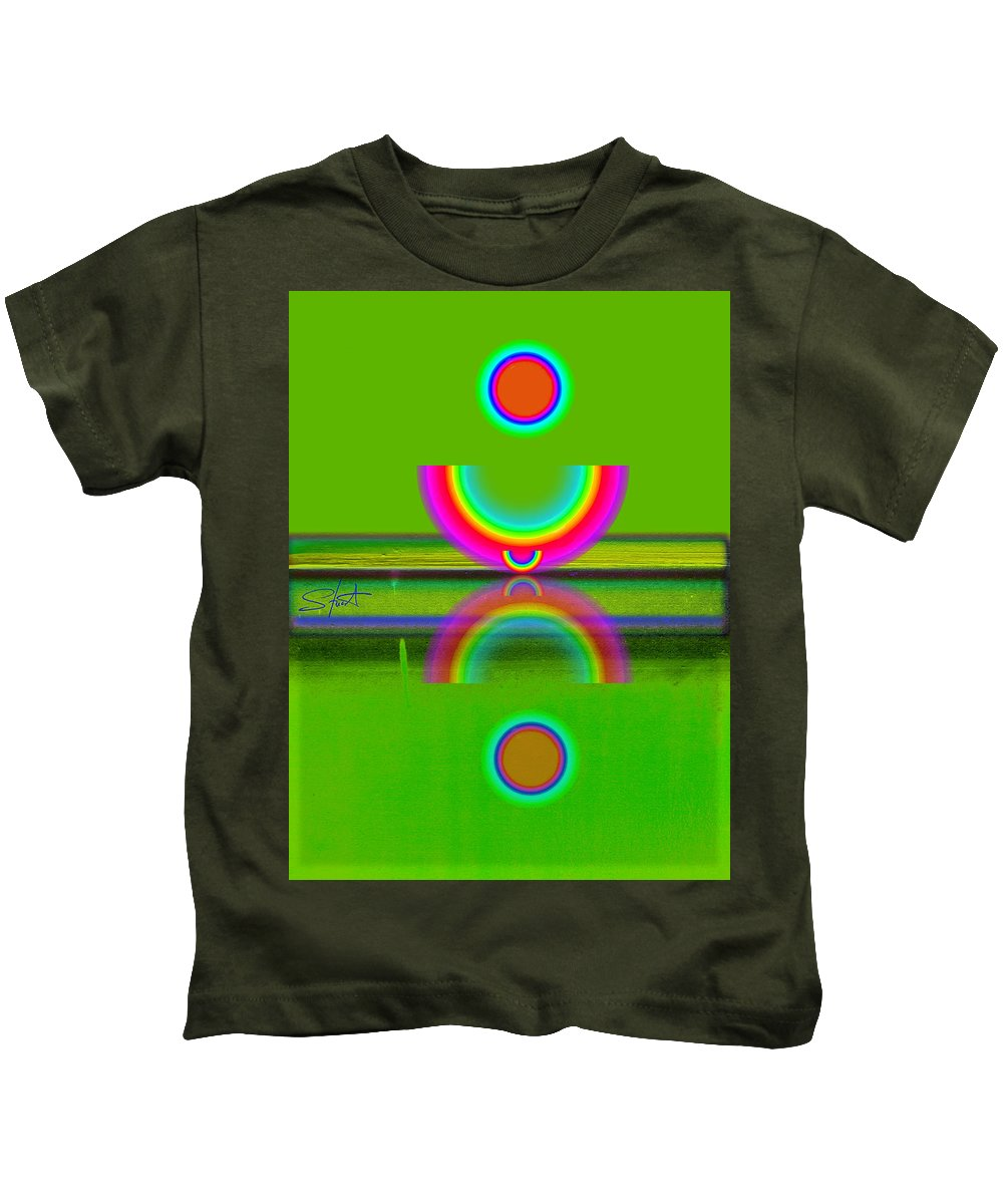 Reflections Kids T-Shirt featuring the painting Reflections On Lime by Charles Stuart