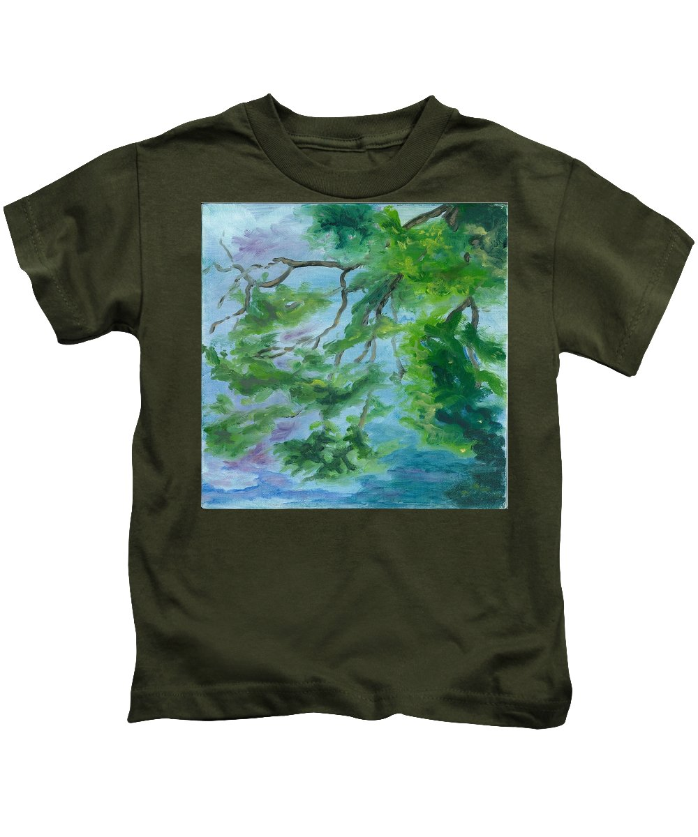 Reflections Kids T-Shirt featuring the painting Reflections On The Mill Pond by Paula Emery