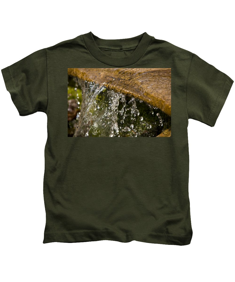 Water Stream Creek Drop Droplet Stone Run Nature Clear Cold Fall Kids T-Shirt featuring the photograph Refreshment by Andrei Shliakhau