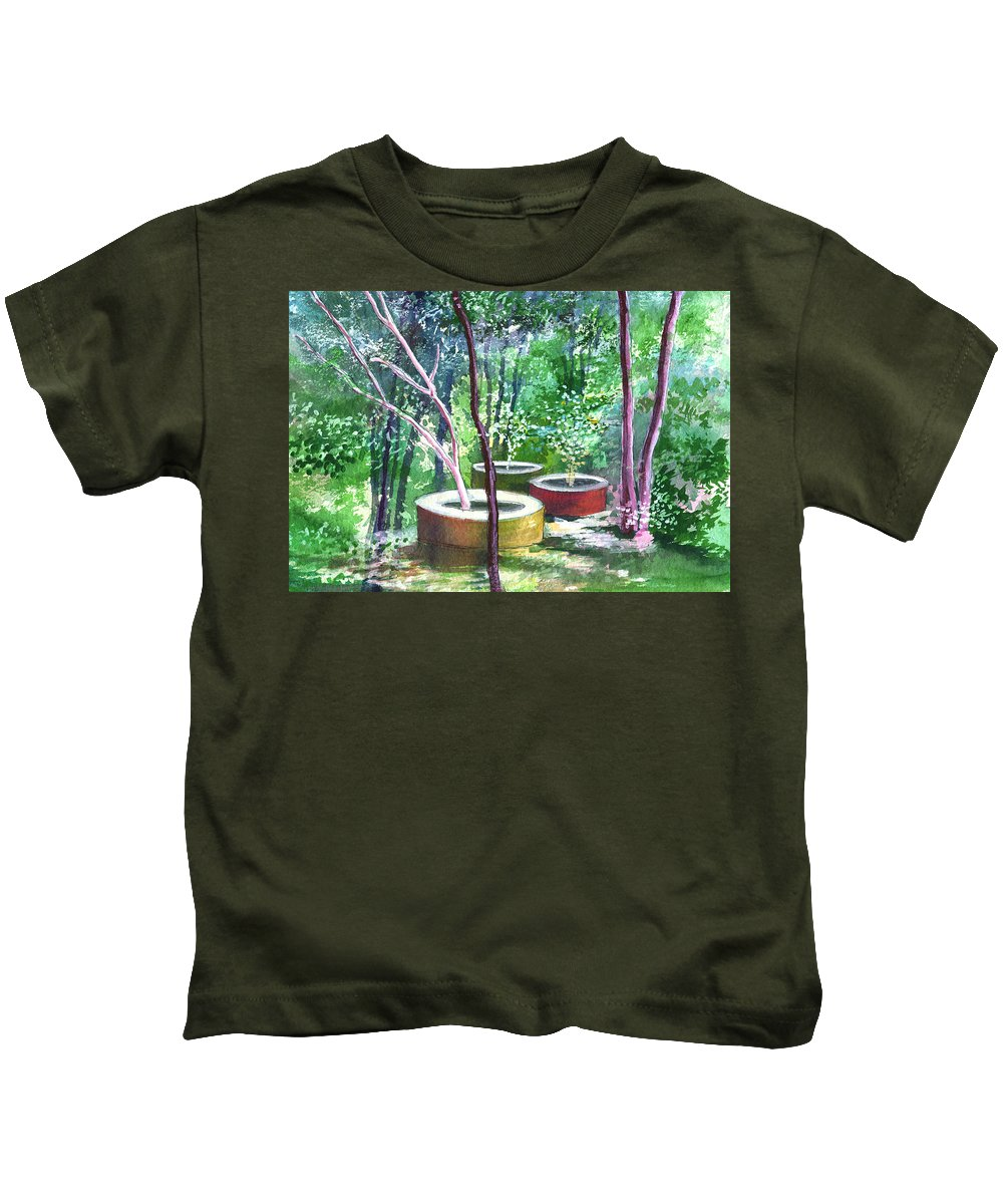 Opaque Landscape Kids T-Shirt featuring the painting Relax here by Anil Nene