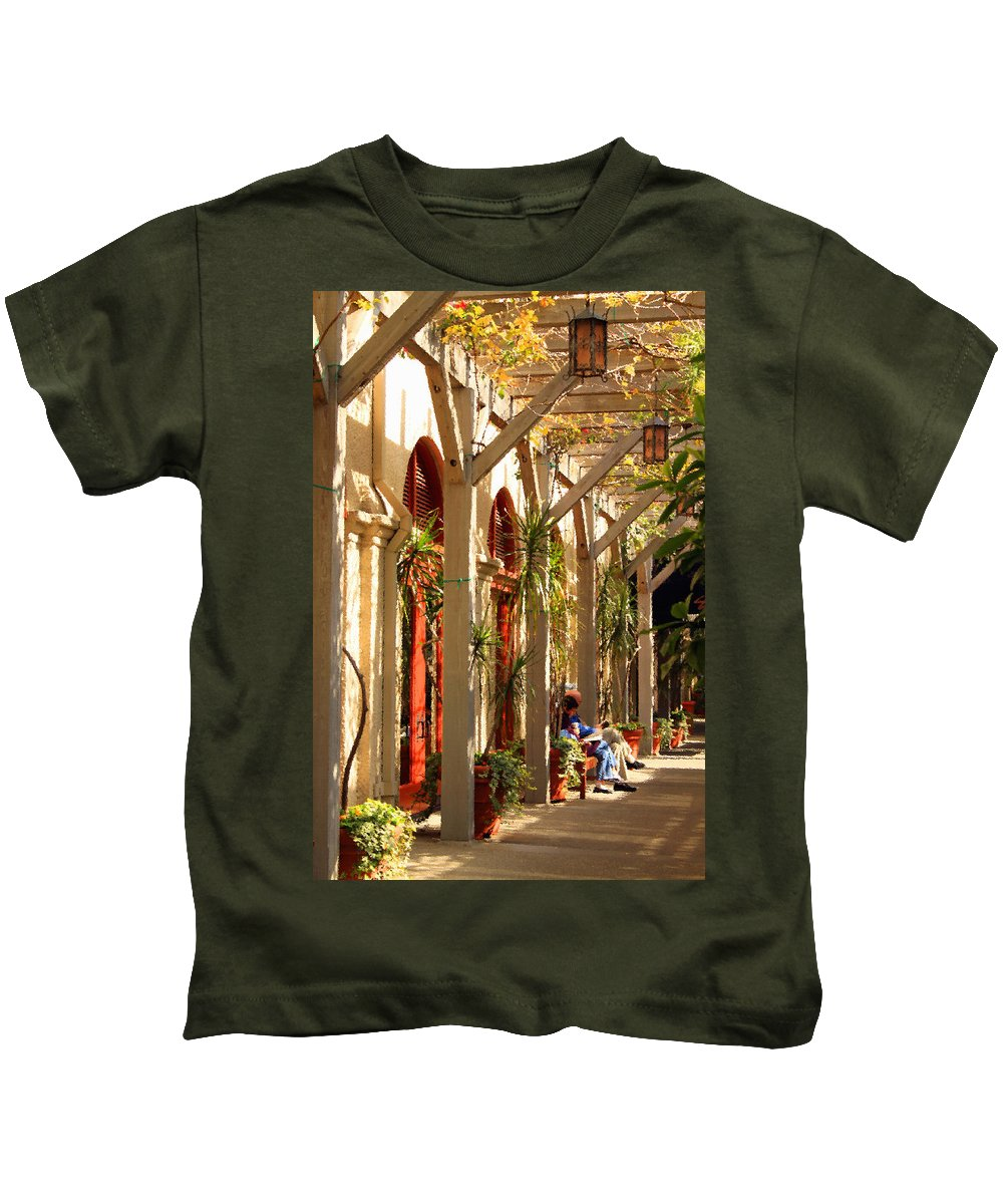 Arch Kids T-Shirt featuring the photograph Relaxing In The Breezeway by James Eddy