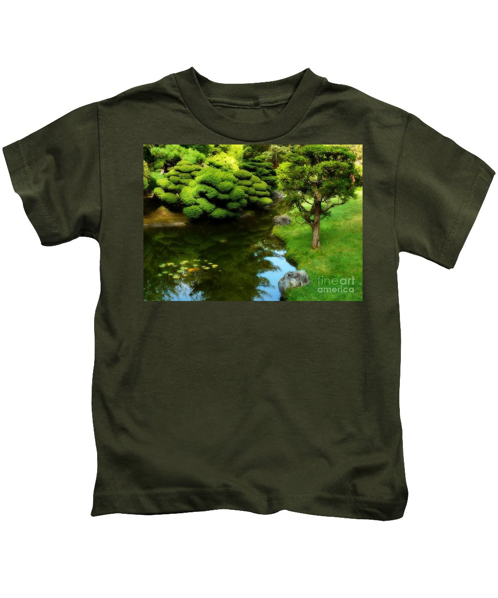 Peaceful Garden Kids T-Shirt featuring the photograph Rest By The Pond by Carol Groenen