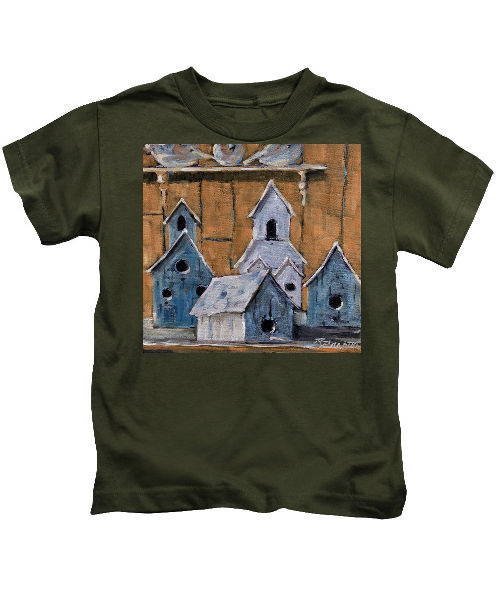 Art Kids T-Shirt featuring the painting Retired Bird Houses By Prankearts Fine Arts by Richard T Pranke