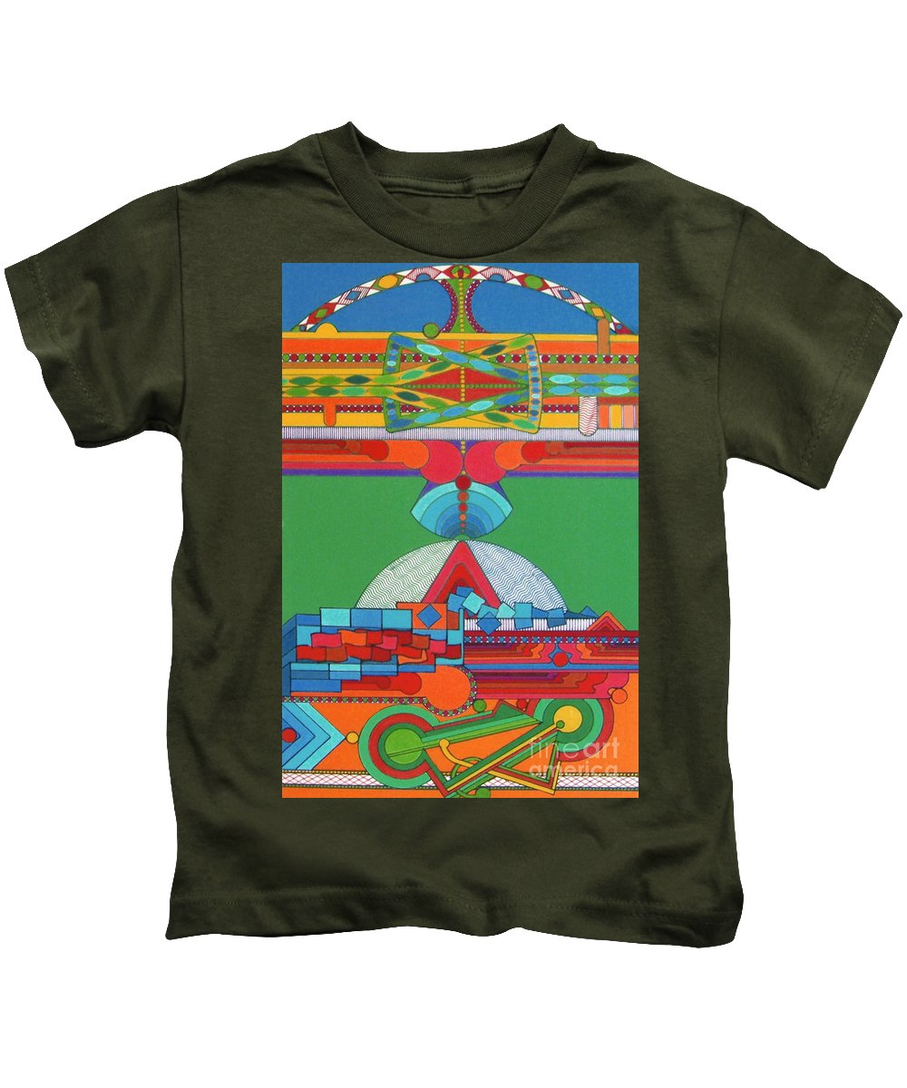 Stadium Of Color Kids T-Shirt featuring the drawing Rfb0428 by Robert F Battles