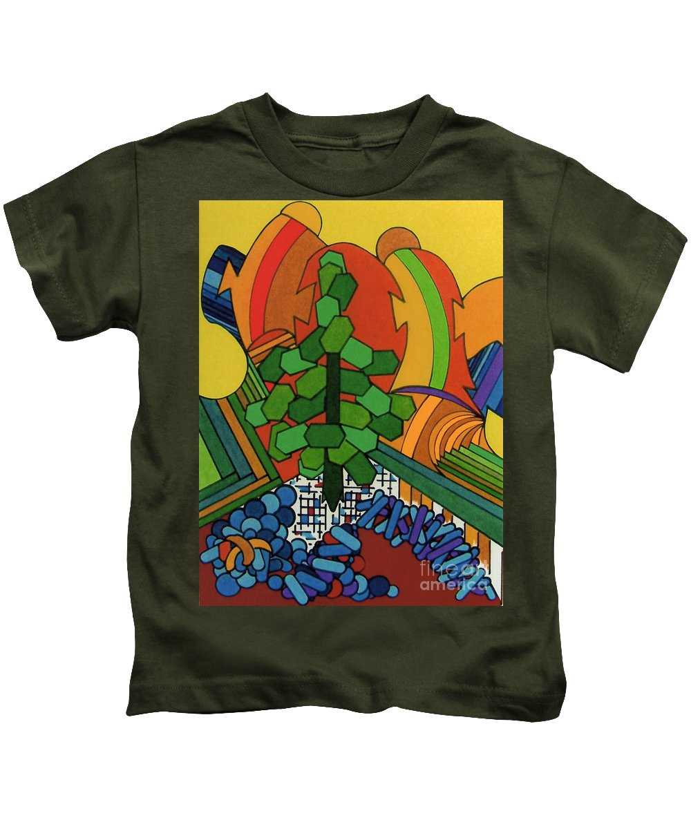 Windswept Kids T-Shirt featuring the drawing Rfb0534 by Robert F Battles
