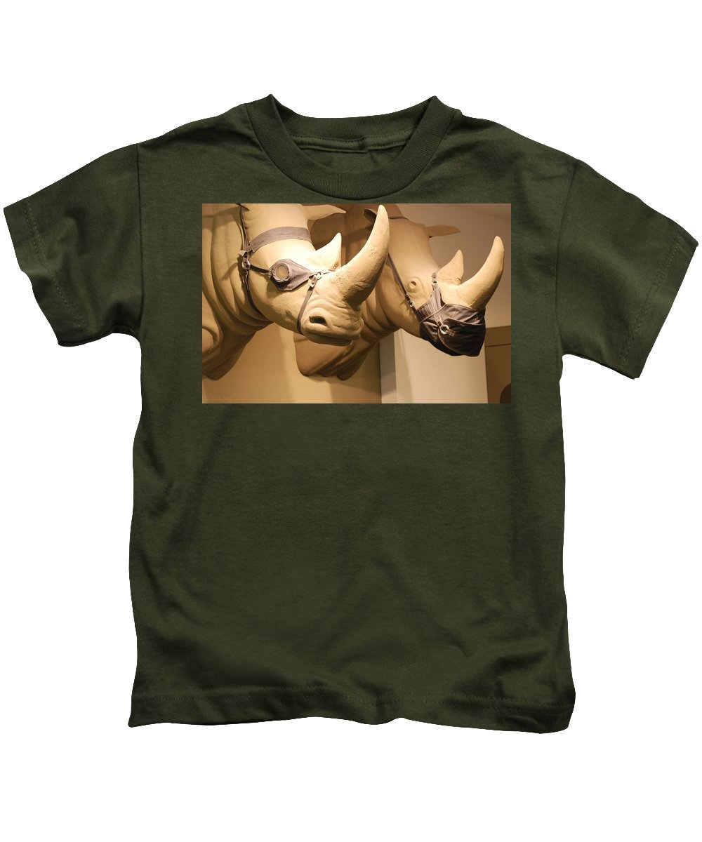 Macro Kids T-Shirt featuring the photograph Rhinos by Rob Hans