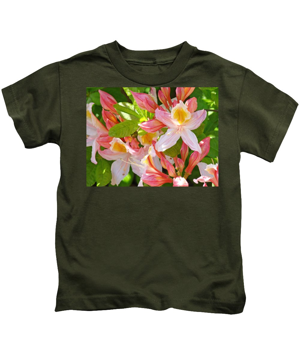 Rhodies Kids T-Shirt featuring the photograph Rhodies Pink Orange Yellow Summer Rhododendron Floral Baslee Troutman by Baslee Troutman