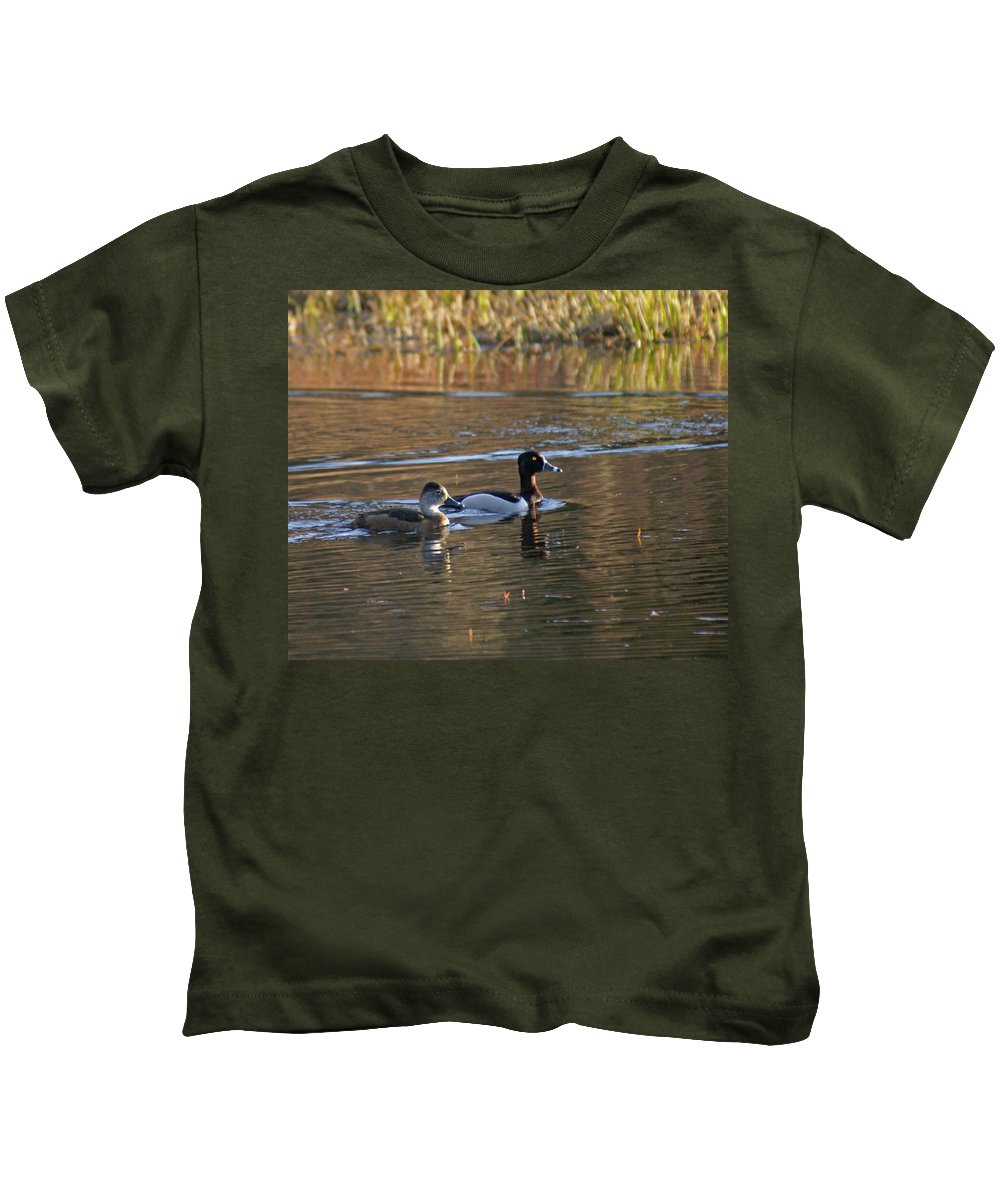 Duck Kids T-Shirt featuring the photograph Ring Necked Duck by Heather Coen