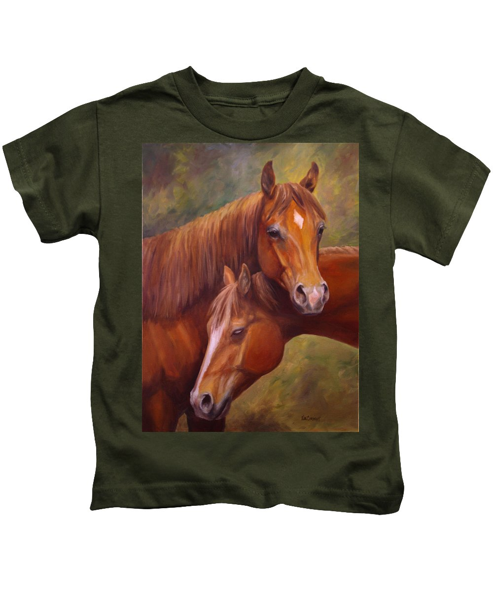 Horse Kids T-Shirt featuring the painting Rising Stars by Kim Corpany