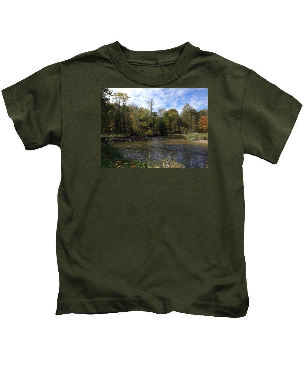 Pure Michigan Kids T-Shirt featuring the digital art River Bends by Jim Richardson
