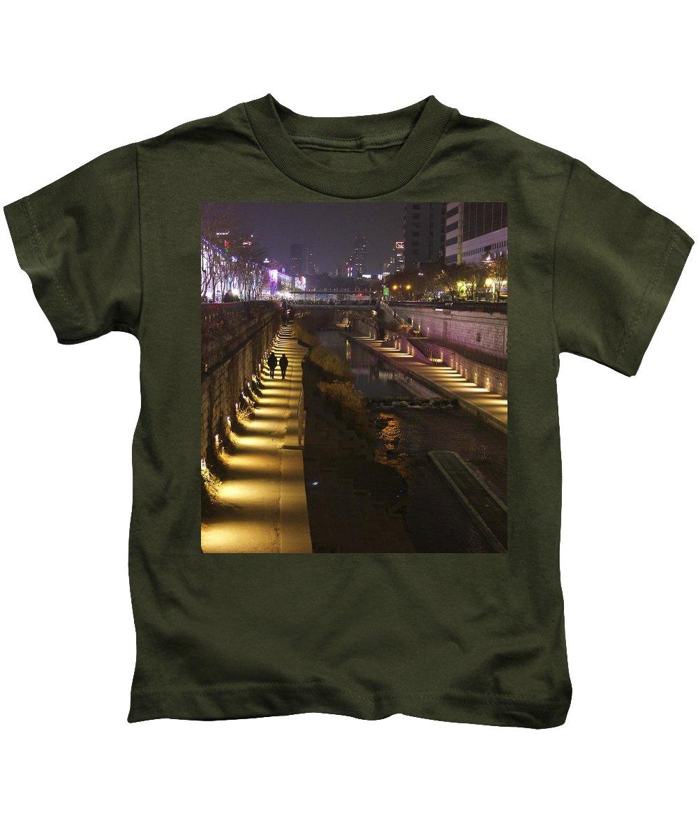 Outdoors Kids T-Shirt featuring the photograph River Walk - Cheonggyecheon - Seoul by Ydania Ogando