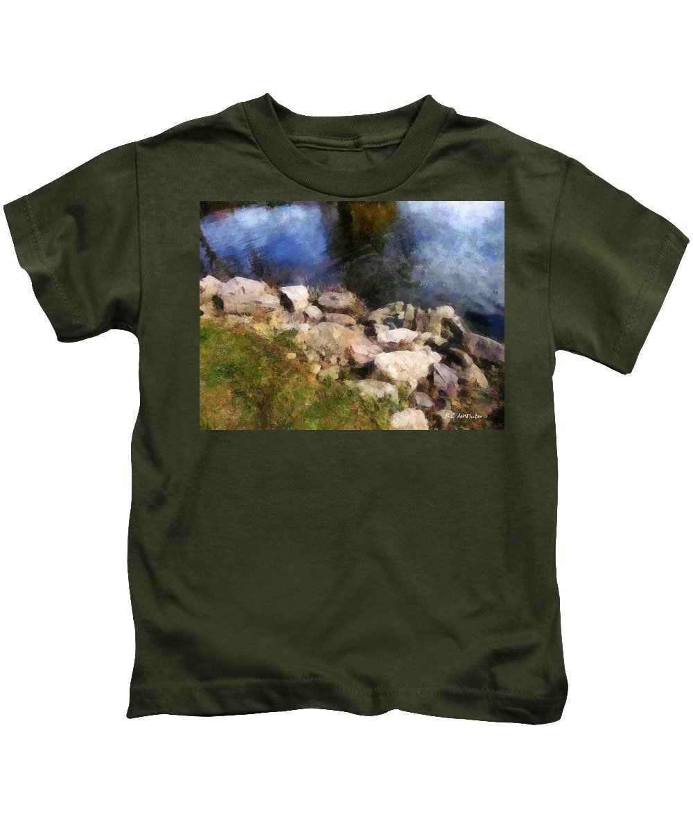 Connecticut Kids T-Shirt featuring the painting River's Edge by RC DeWinter