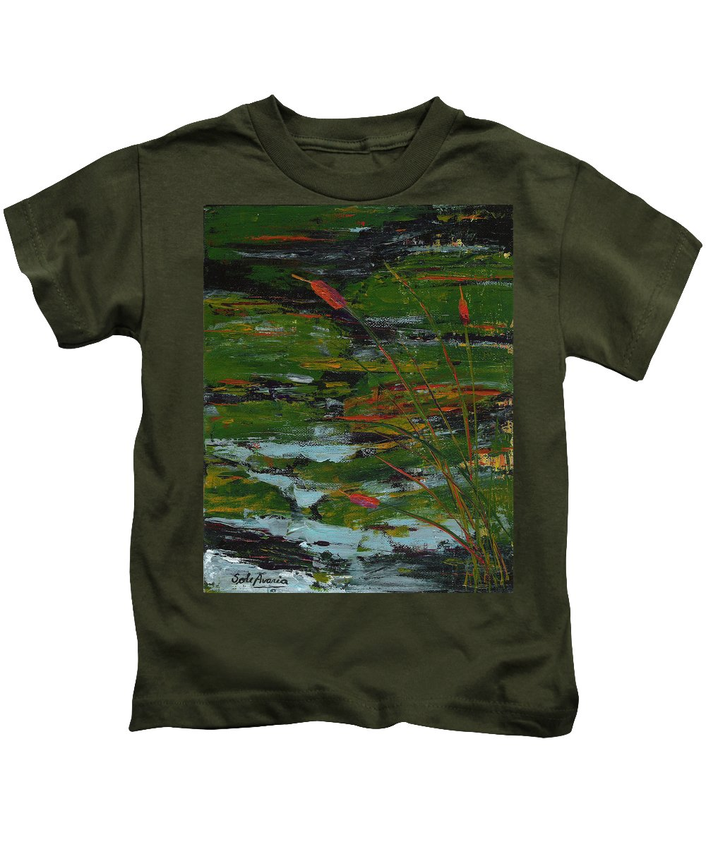 River Kids T-Shirt featuring the painting Rivers Edge by Sole Avaria