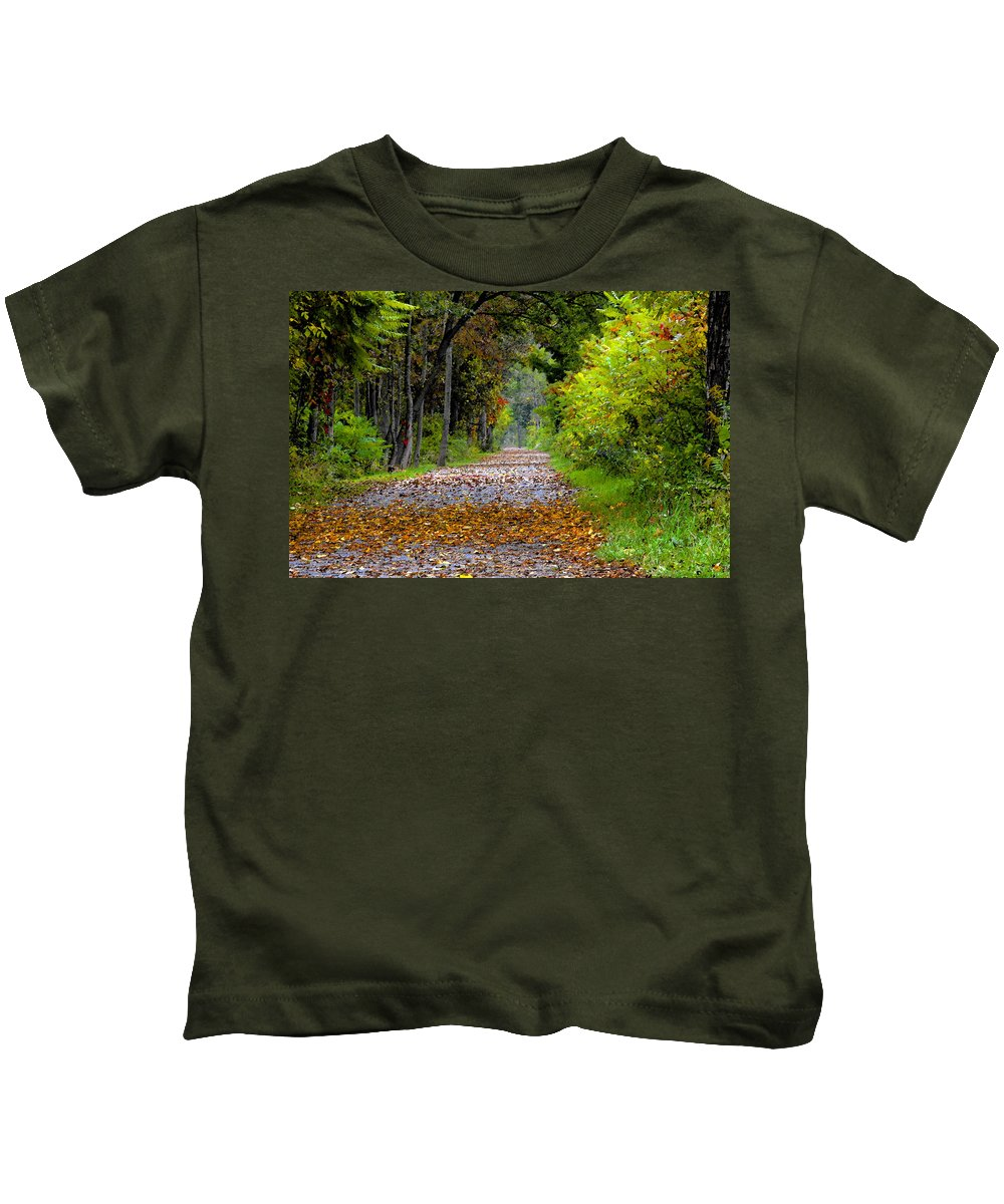 Fall Kids T-Shirt featuring the painting Road To Autumn by David Lee Thompson
