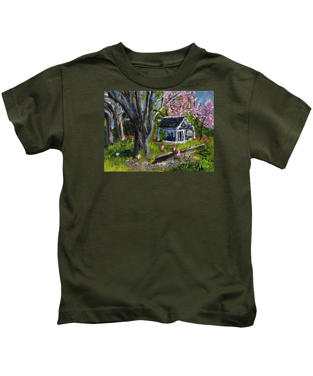 Cape Cod Kids T-Shirt featuring the painting Roadside Vegetable Stand Off Season by Michael Helfen
